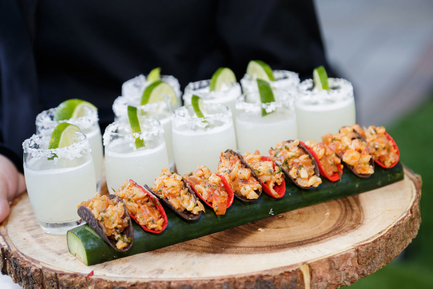 Wedding reception mexican food appetizer hors d'oeuvres margaritas and tacos in limes
