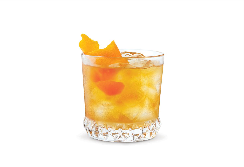 G & Tea cocktail with gin, orange marmalade, earl grey tea, orange bitters, and orange twist