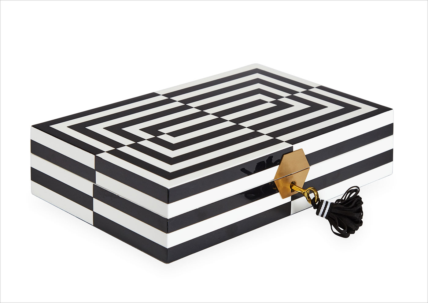 jonathan adler geo black white gold jewelry box mother's day gift ideas jonathan adler