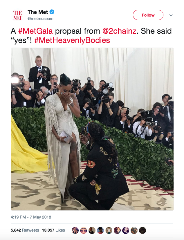 2 chainz proposes to kesha ward at met gala