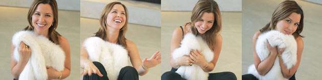 Bridal designer Monique Lhuillier playing with feather boa Inside Weddings magazine interview