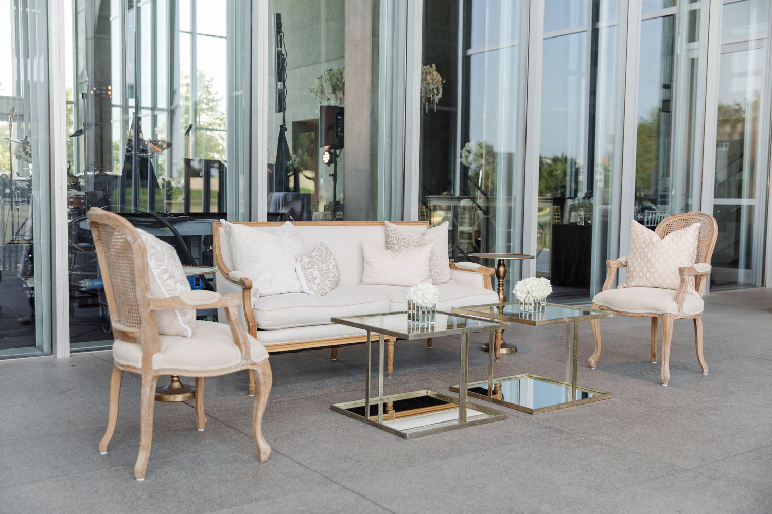 Lounge furniture outside of wedding reception
