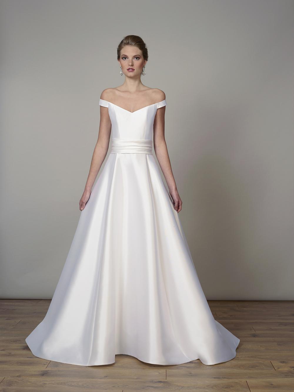 Liancarlo off shoulder satin silk ball gown royal wedding dress inspiration