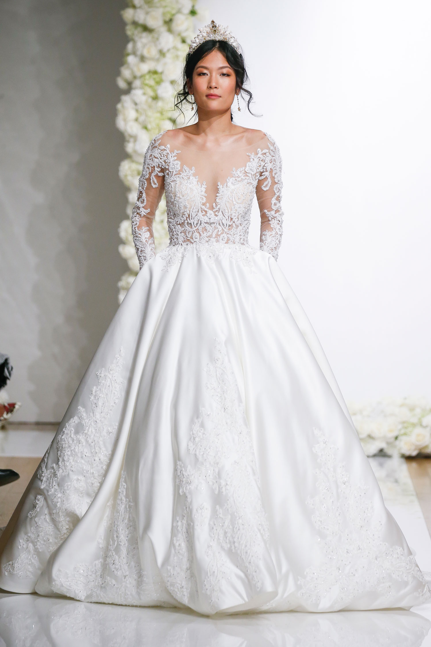 Long sleeve illusion ball gown Morilee by Madeline Gardner royal wedding dress inspiration
