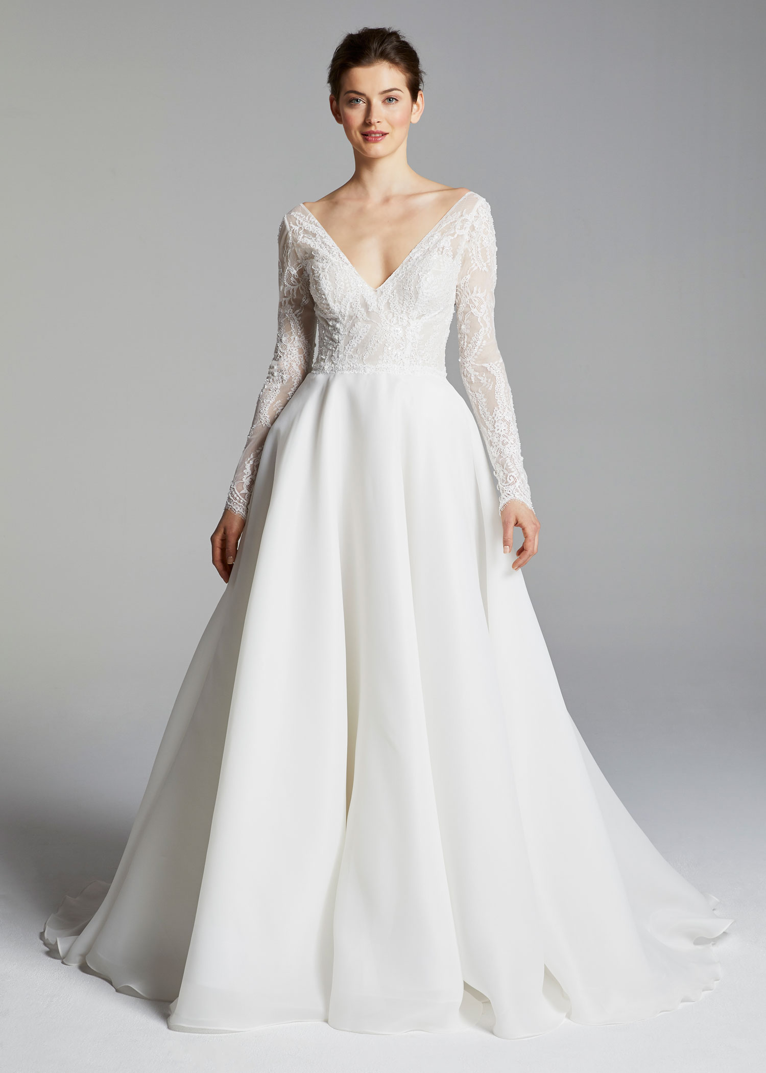 Anne Barge v neck long sleeve a line ball gown royal wedding dress inspiration