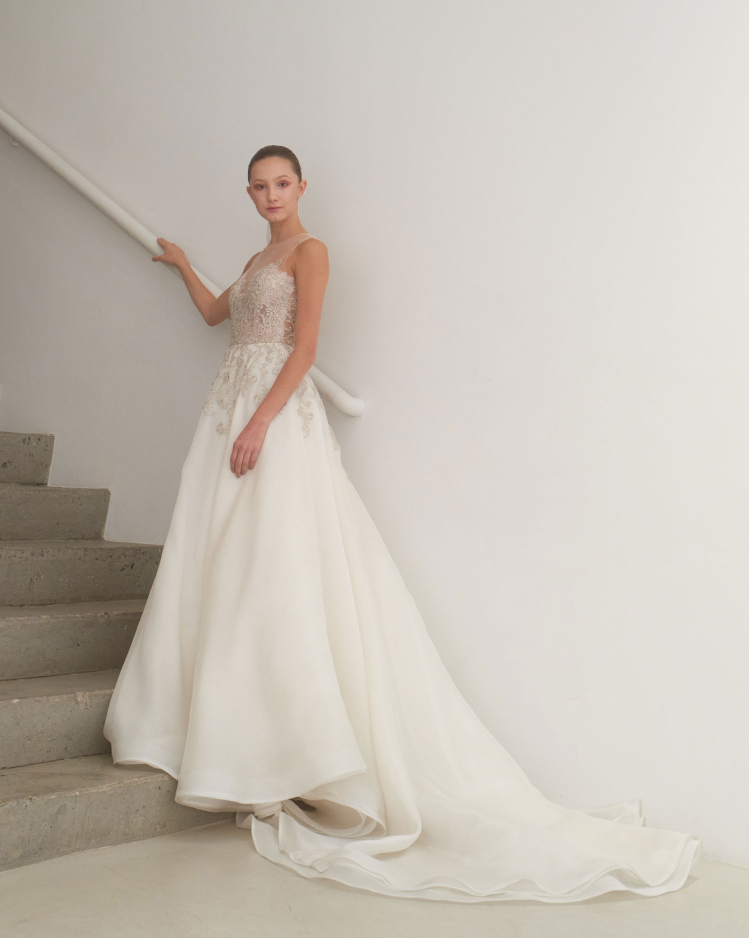 Francesca Miranda ball gown with long train royal wedding inspired bridal gown