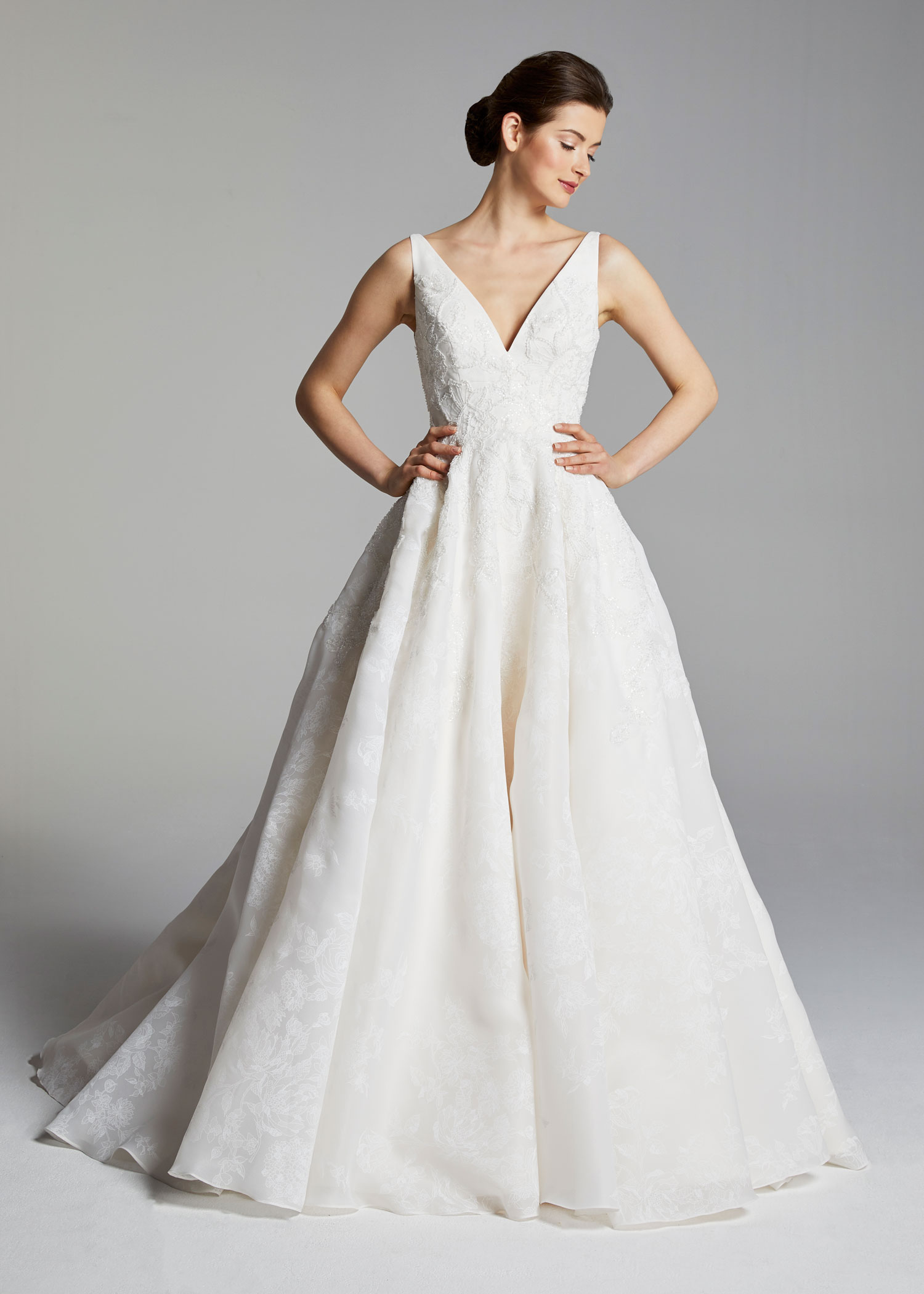 Anne Barge v neck a line ball gown royal wedding inspired dress bridal gown