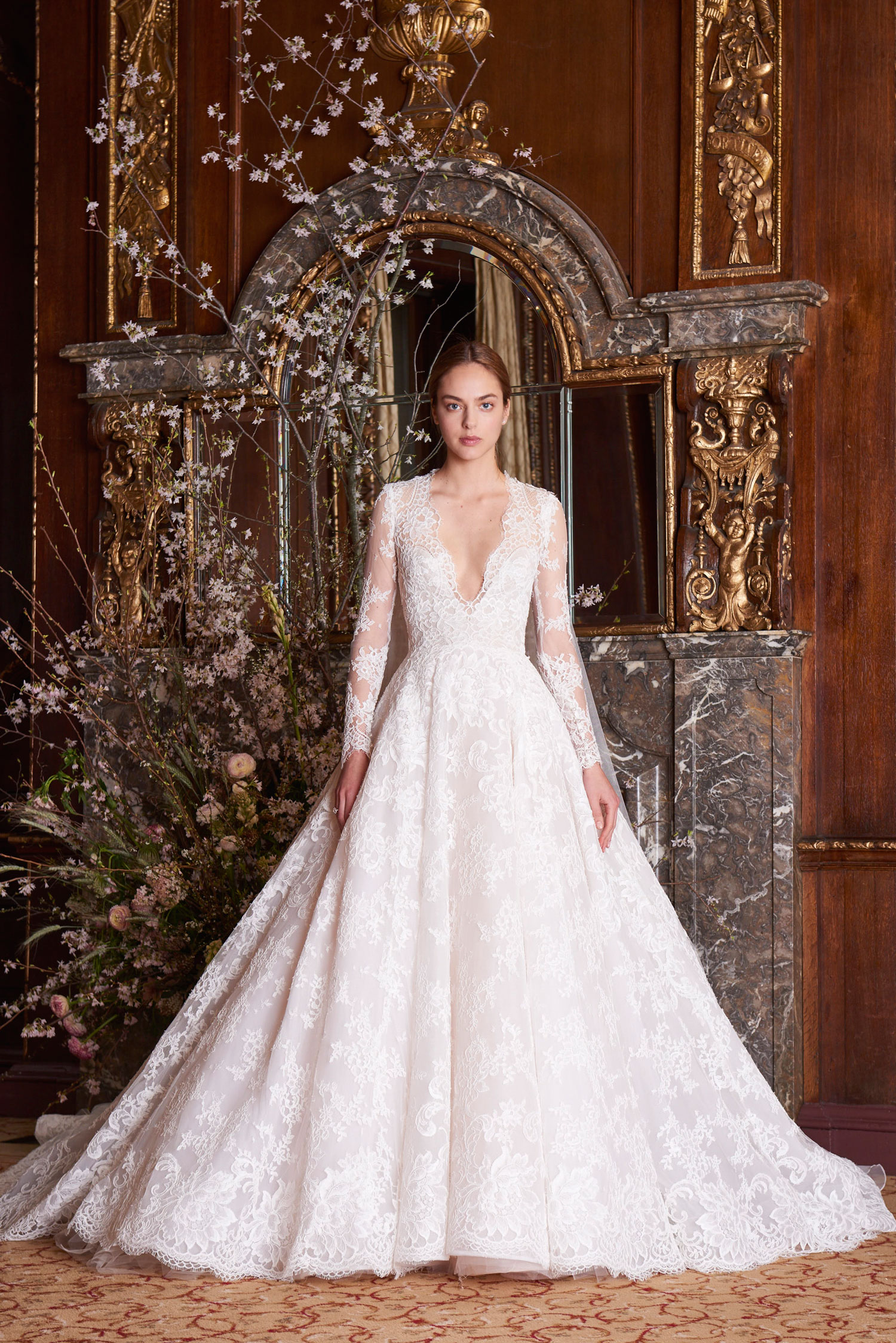 Monique Lhuillier Majesty ball gown long sleeve v neck royal wedding inspired dresses