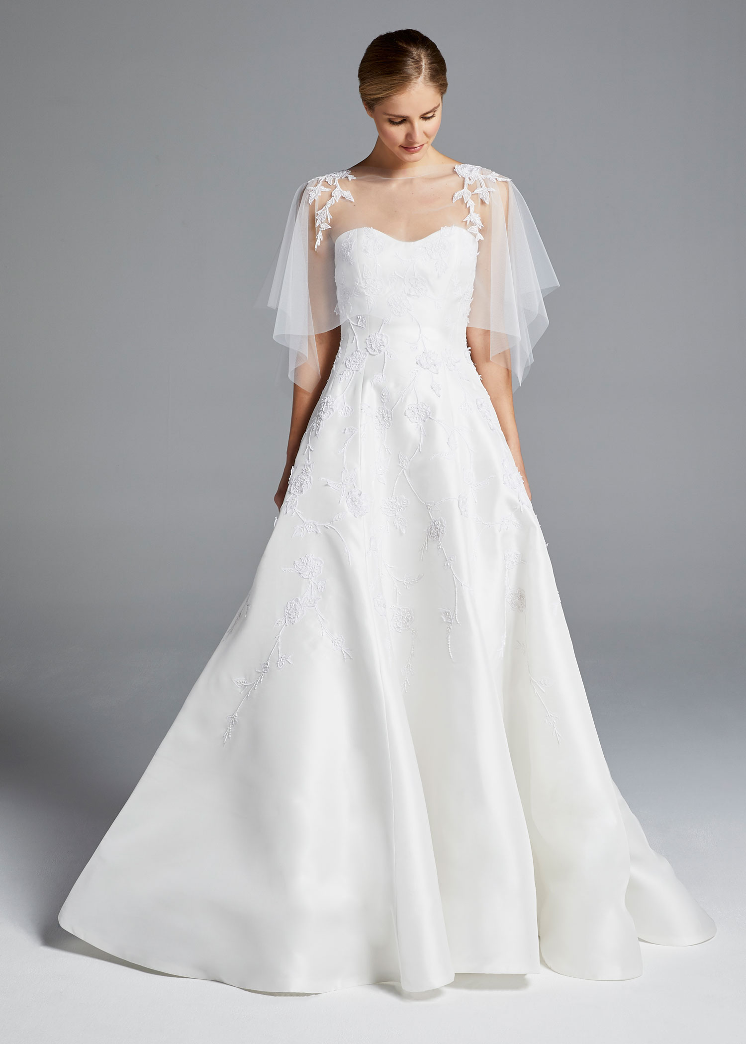 Anne Barge strapless a line ball gown with sheer bolero royal wedding inspired gowns