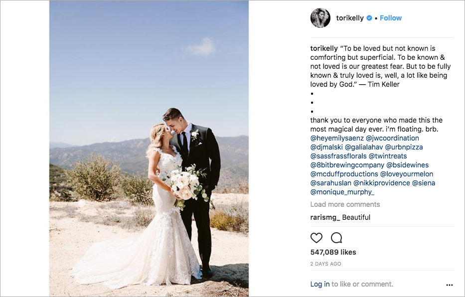 Tori Kelly and André Murillo wedding photo, tori kelly wedding dress, galia lahav wedding dress