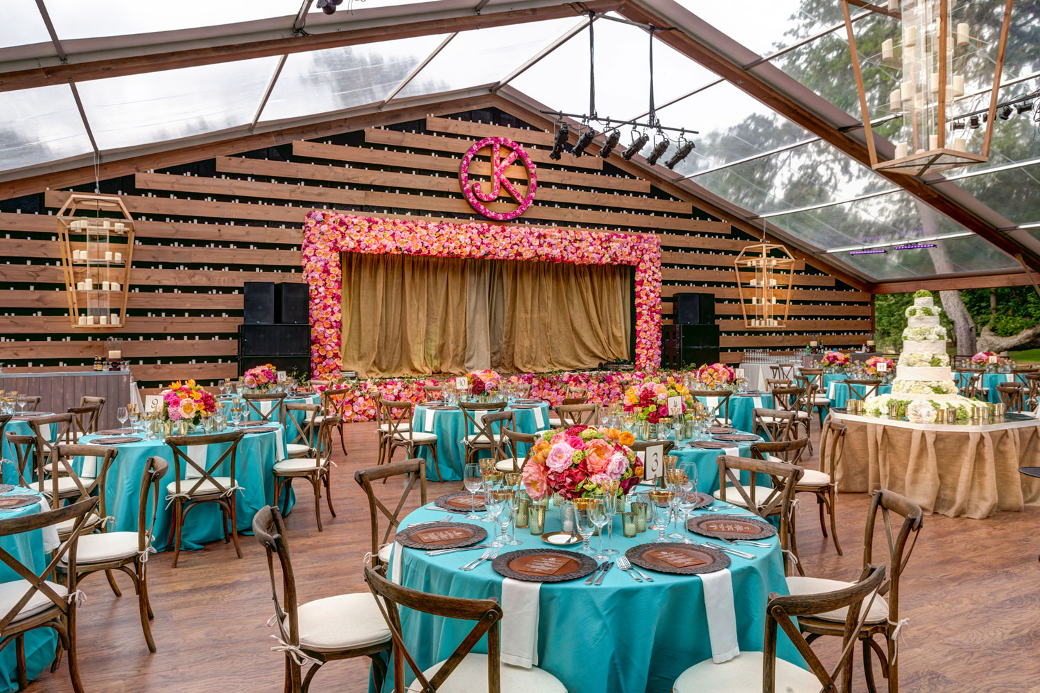 Wedding decor for custom built reception space at ranch in texas