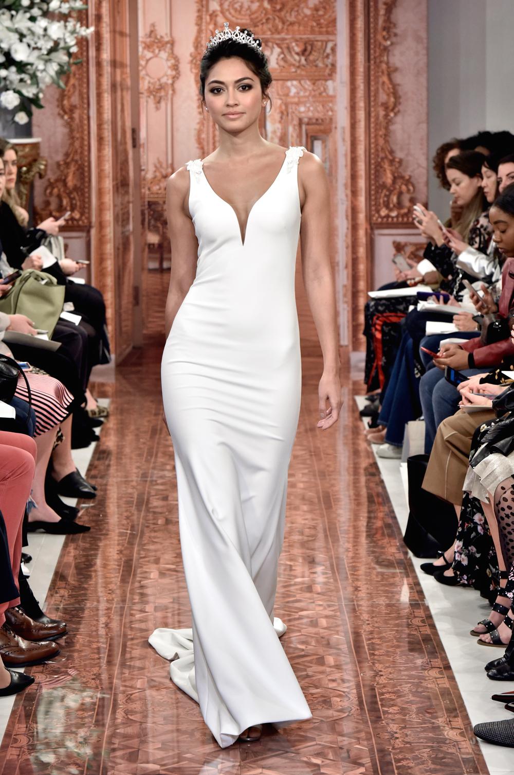 Theia v neck bridal gown meghan markle wedding dress minimalist inspiration
