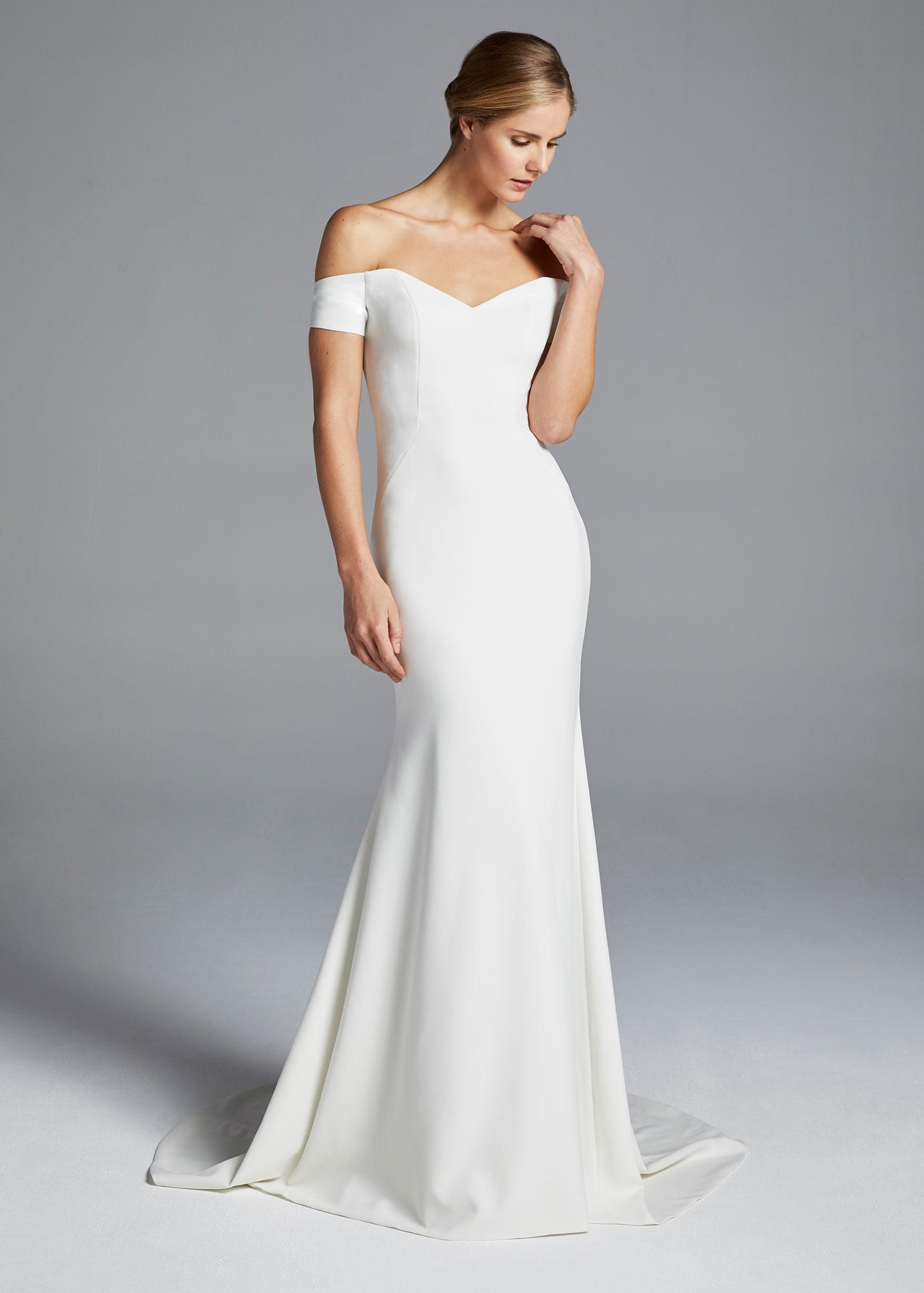 Anne Barge minimalist design off shoulder bridal gown meghan markle royal wedding inspiration