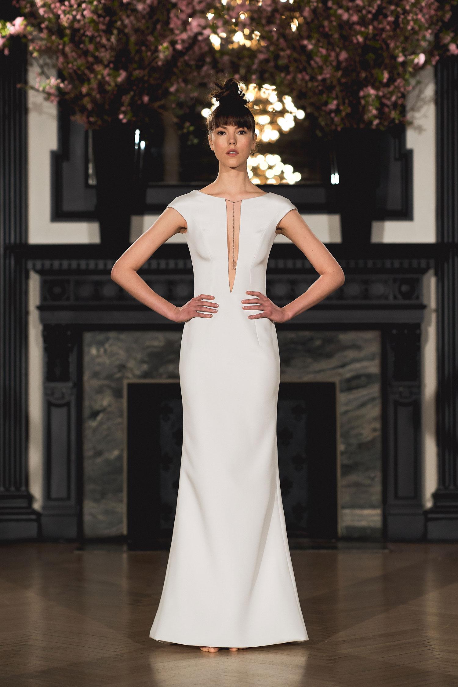 Ines Di Santo minimalist wedding dress plunging v neck cap sleeve meghan markle bridal gown inspiration