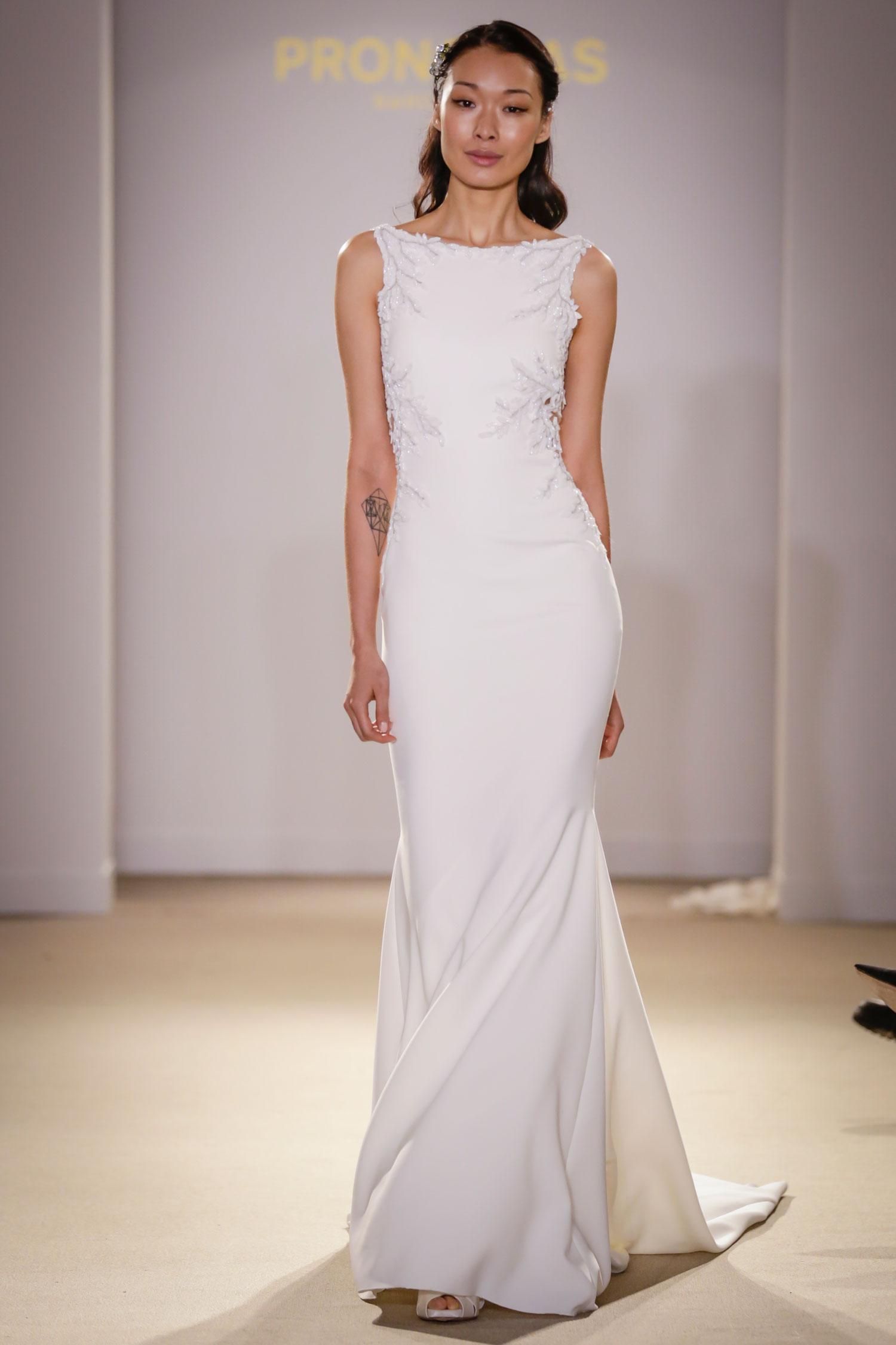 Pronovias high  neck bateau neckline wedding dress meghan markle bridal gown inspiration