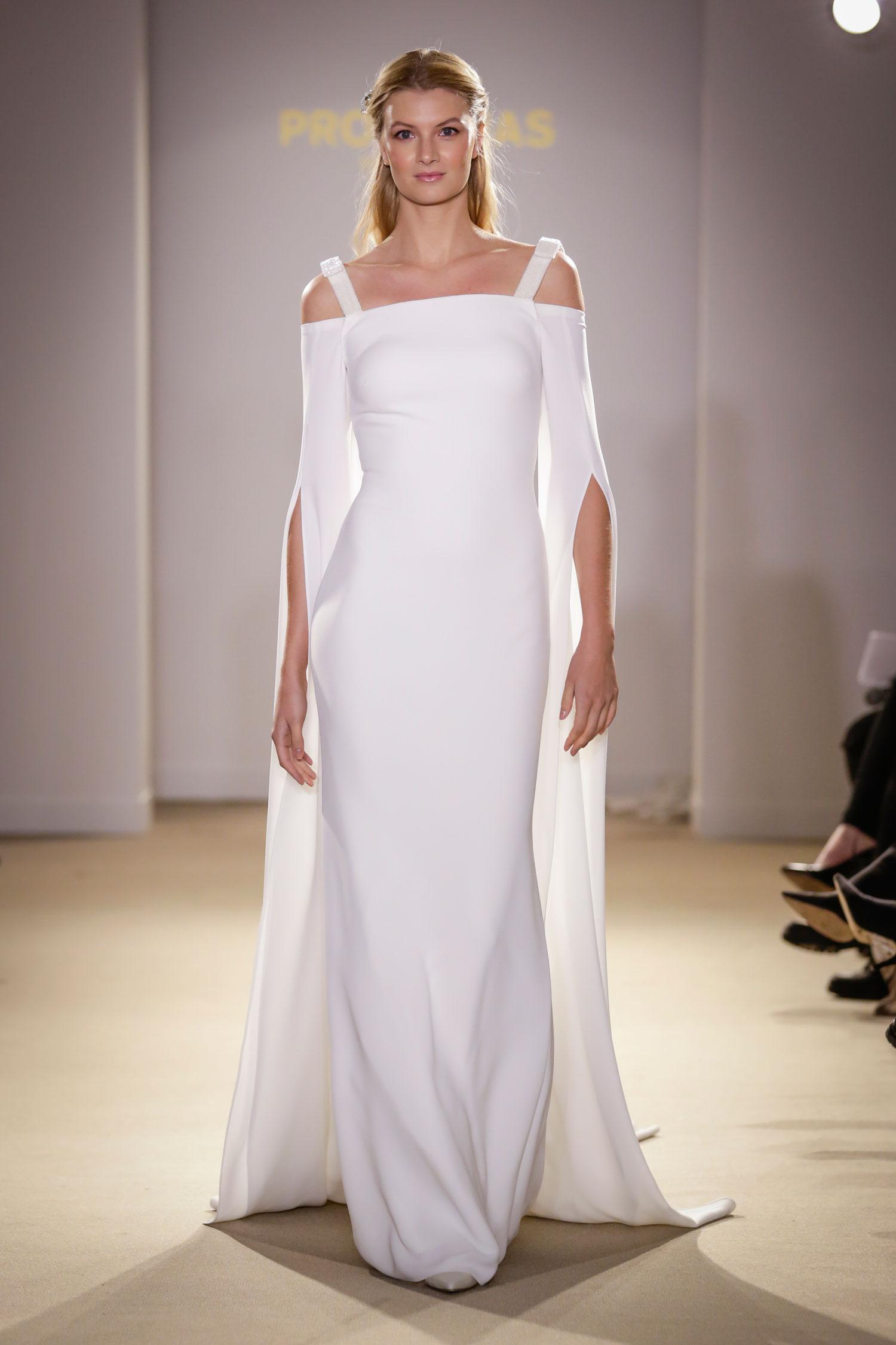Pronovias wedding dress with three quarter sleeves train meghan markle wedding gown inspiration