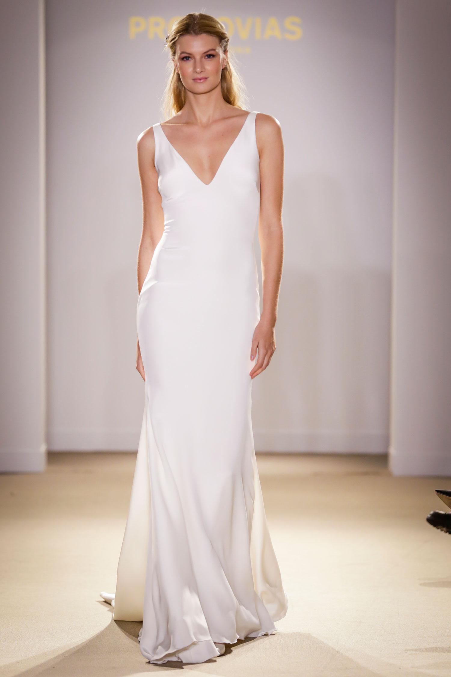 Pronovias v neck minimalist wedding dress meghan markle bridal gown inspiration