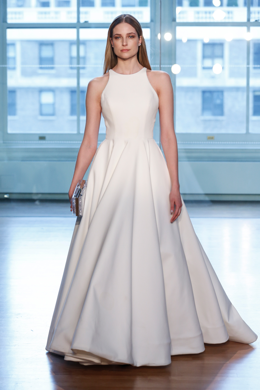 Justin Alexander high neck wedding dress minimalist design meghan markle inspiration