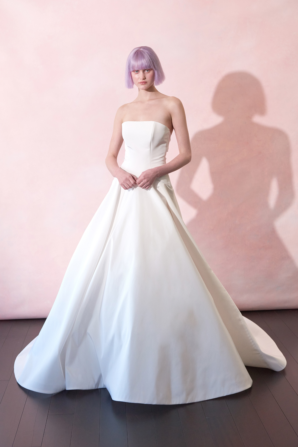 Isabelle Armstrong strapless ball gown sleek silk fabric meghan markle bridal gown inspiration