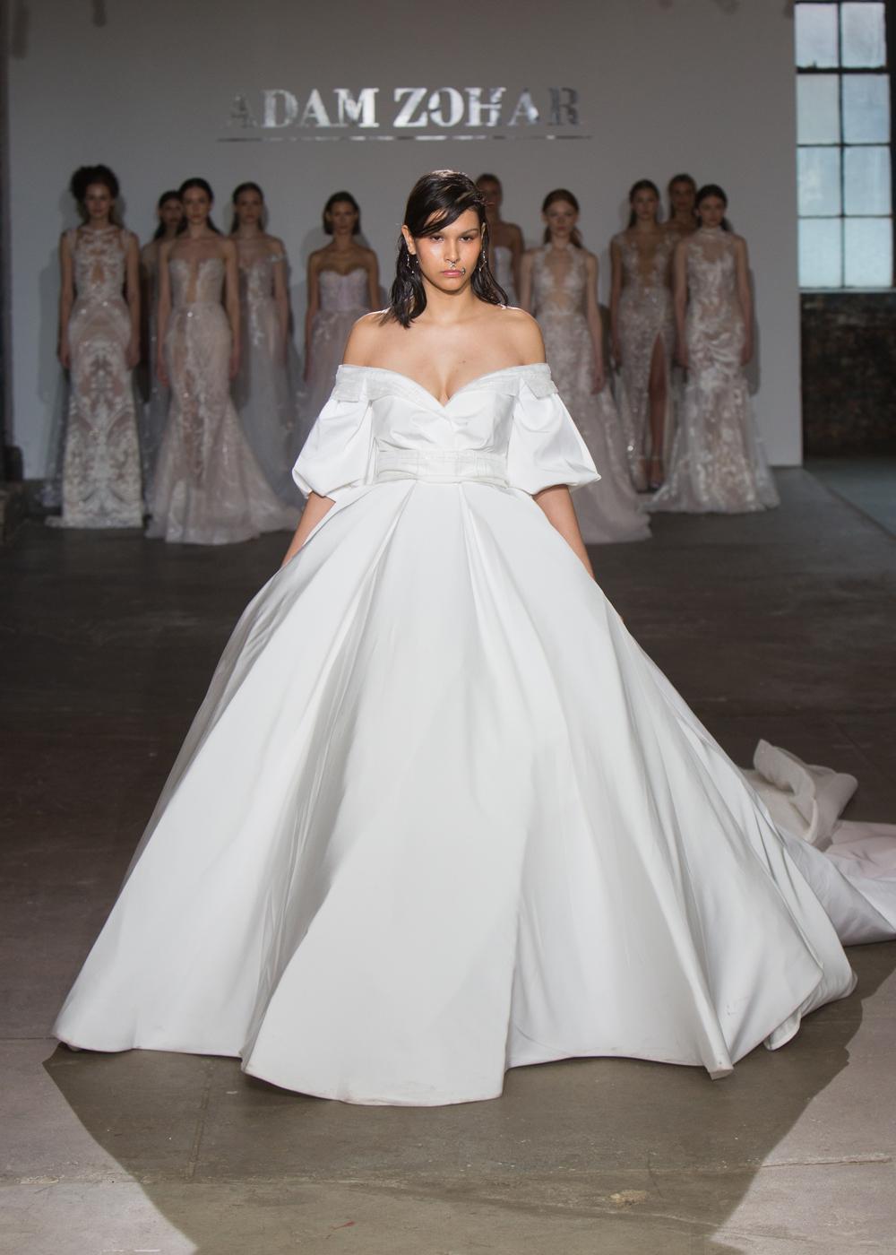 Adam Zohar off shoulder ball gown in sleek silk fabric meghan markle wedding dress inspiration