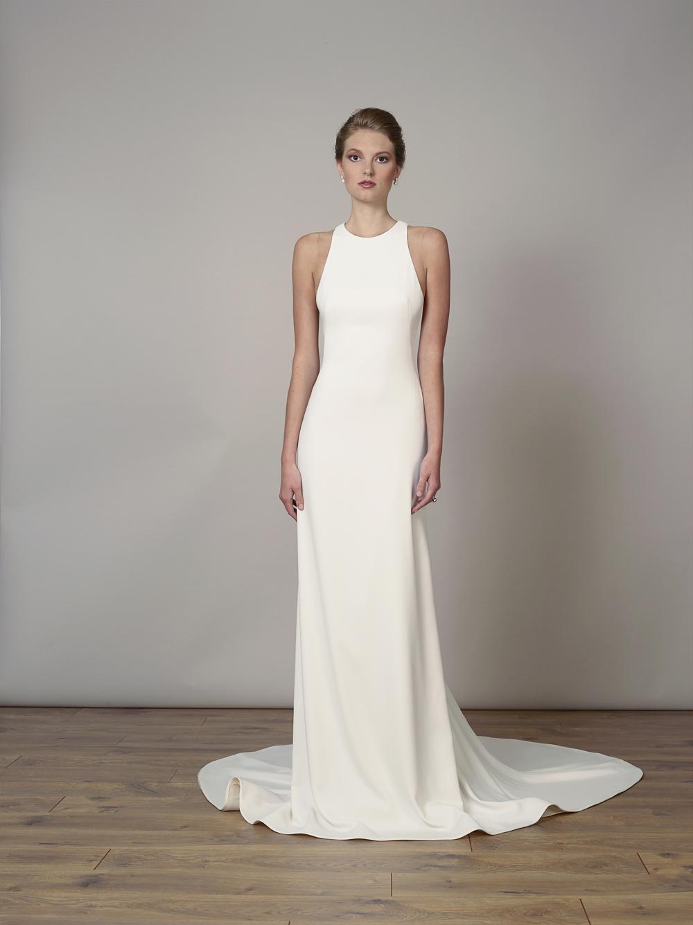Liancarlo minimalist wedding dress high neck meghan markle dress inspiration