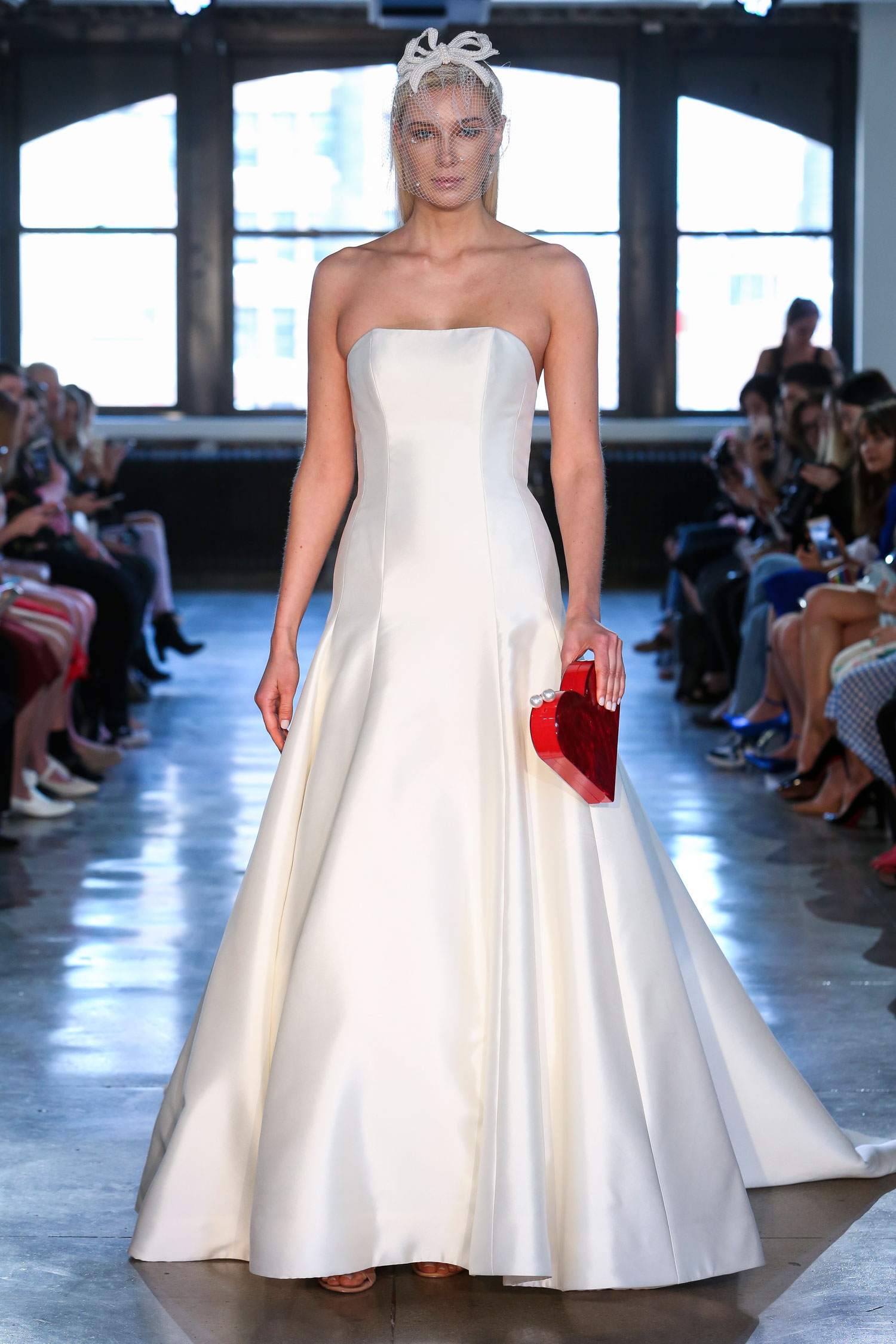 Watters strapless ball gown silk fabric minimalist design meghan markle wedding inspiration