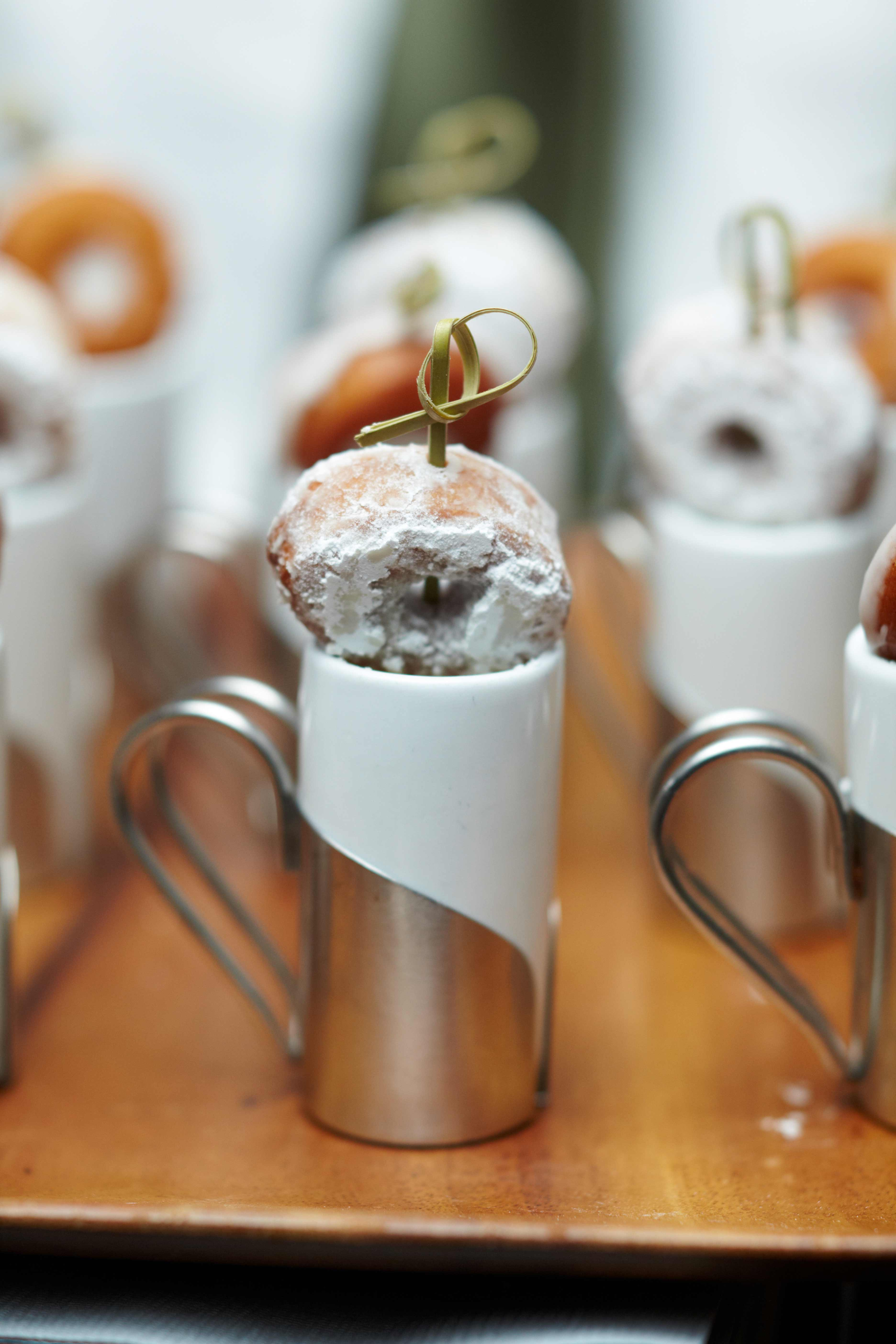 National donut day small shooter of coffee or milk with donut on top mini doughnut dessert ideas