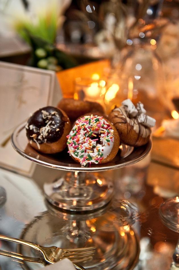 National donut day wedding reception personal tray of four donut flavors wedding ideas doughnut