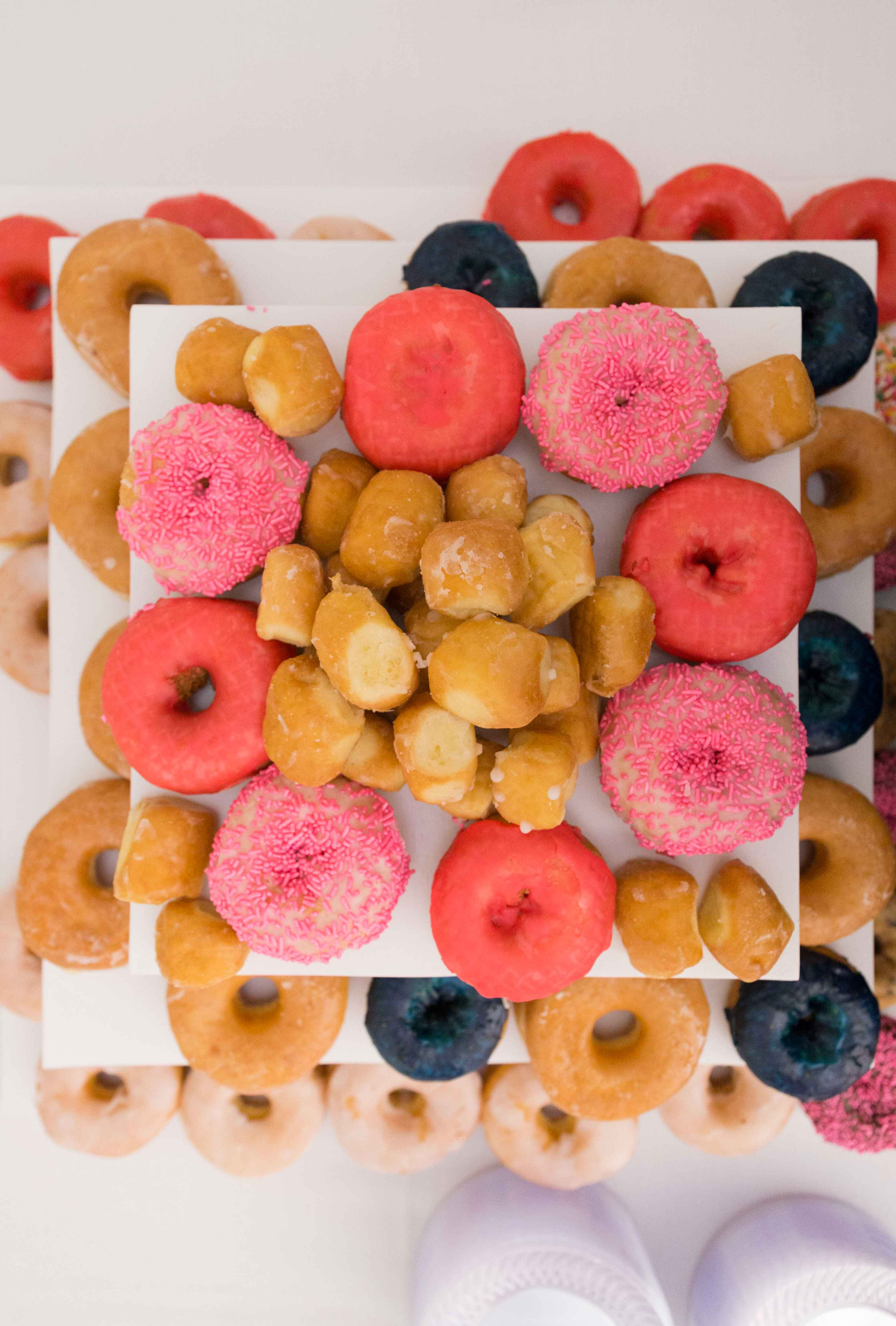 National donut day three tier tray cake stand with donuts and donut holes doughnut