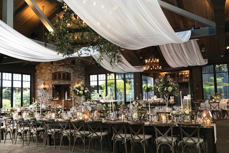 Inside Weddings Summer 2018 issue preview drapery barn wedding reception rustic elegant