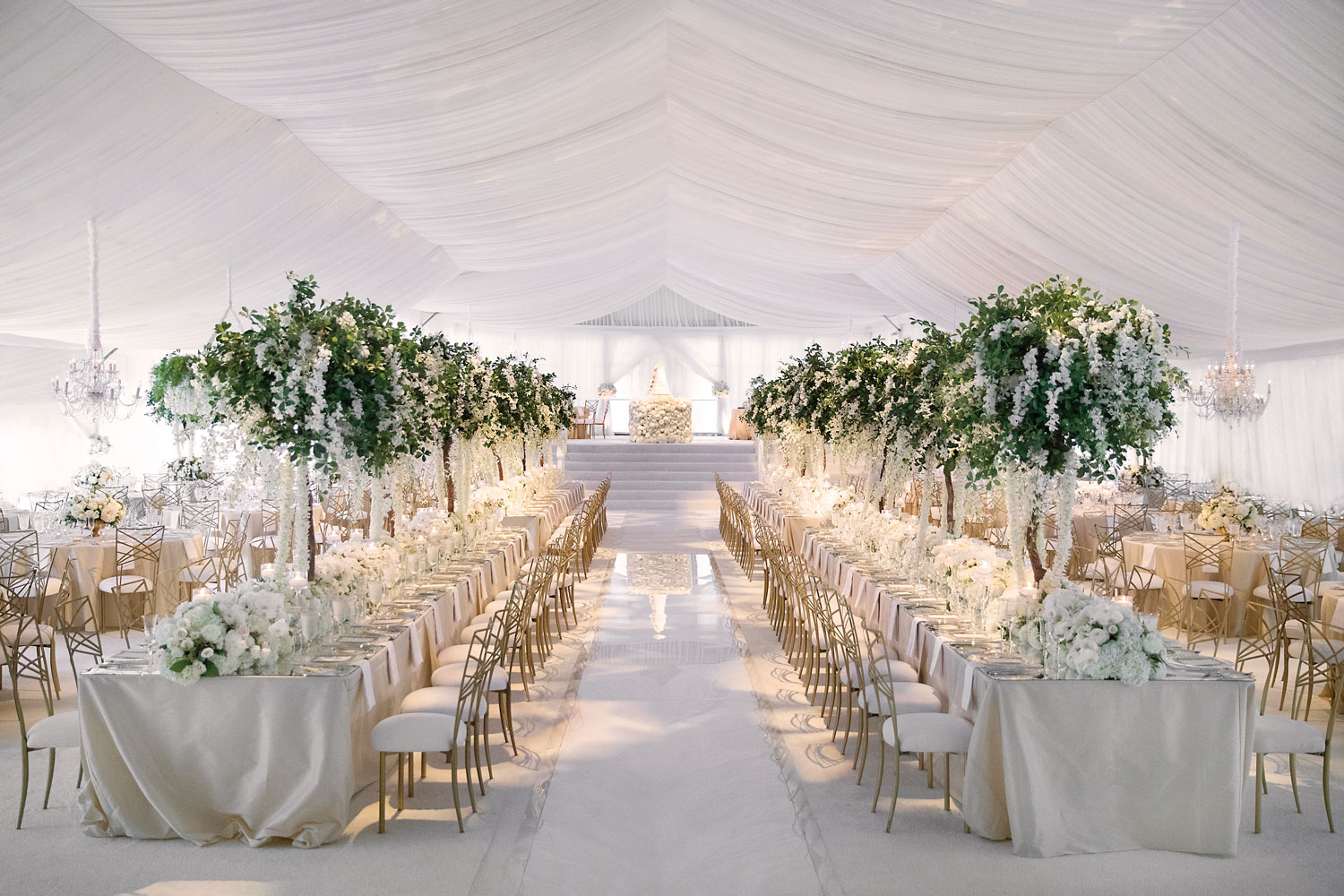 Inside Weddings Summer 2018 issue preview luxury wedding reception all white