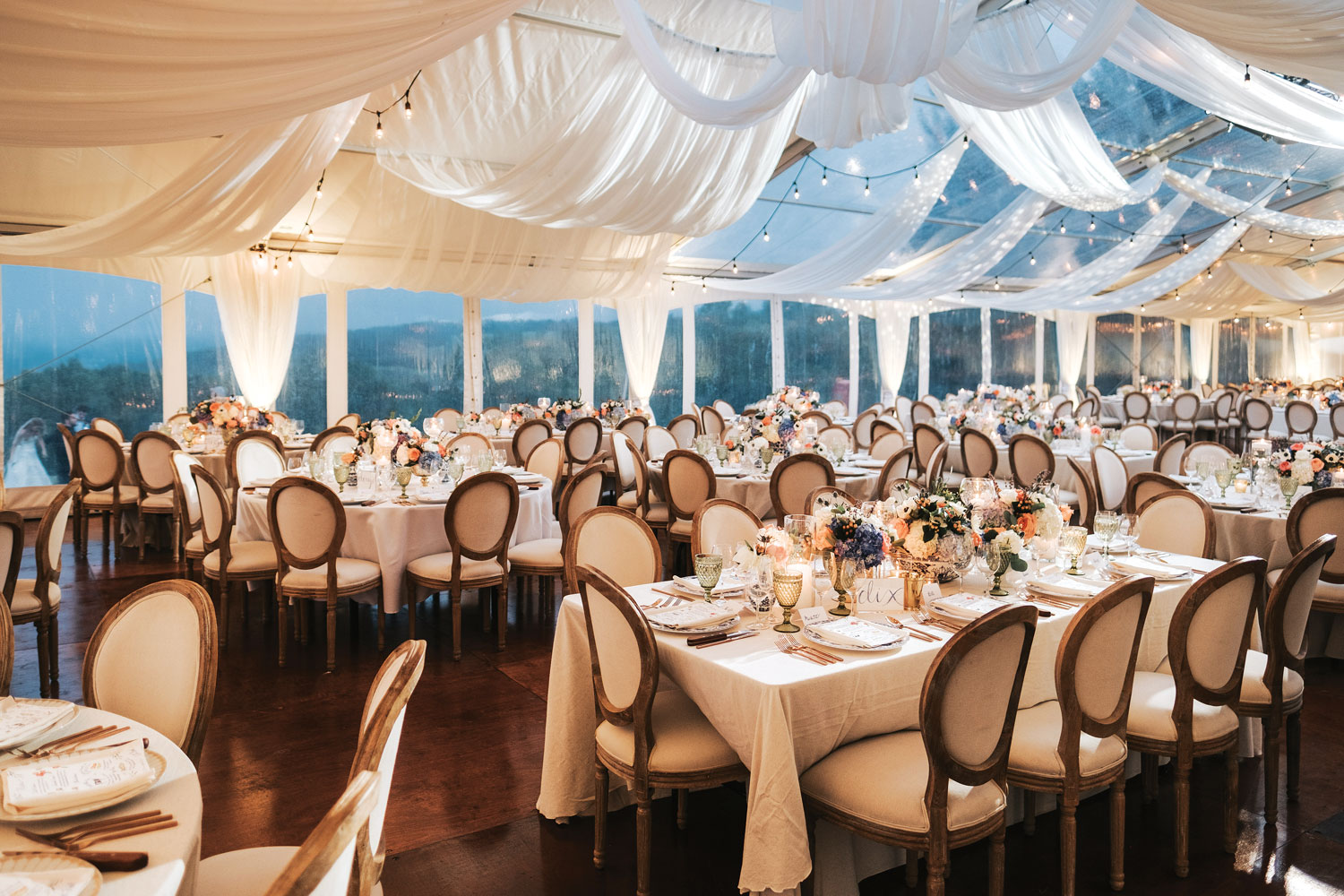 Inside Weddings Summer 2018 issue preview drapery over seating wedding reception