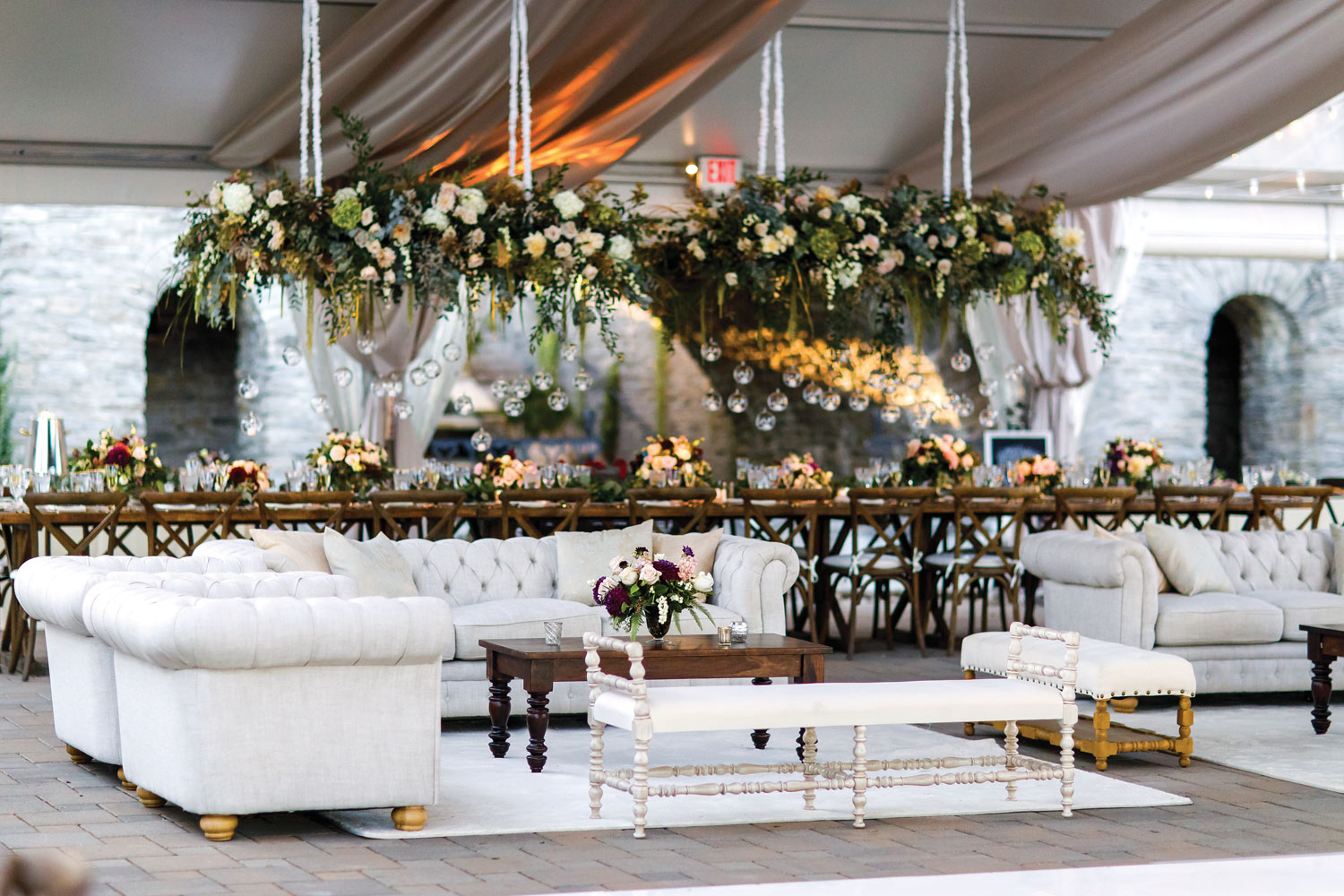 Inside Weddings Summer 2018 issue preview lounge area at wedding reception