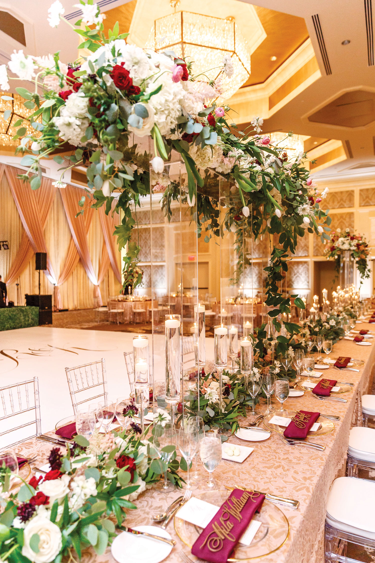 Inside Weddings Summer 2018 issue preview wedding reception tall centerpieces