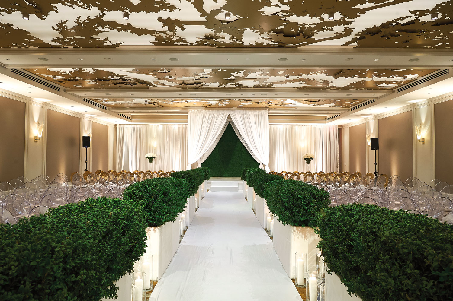 Inside Weddings Summer 2018 issue preview ballroom wedding reception white green