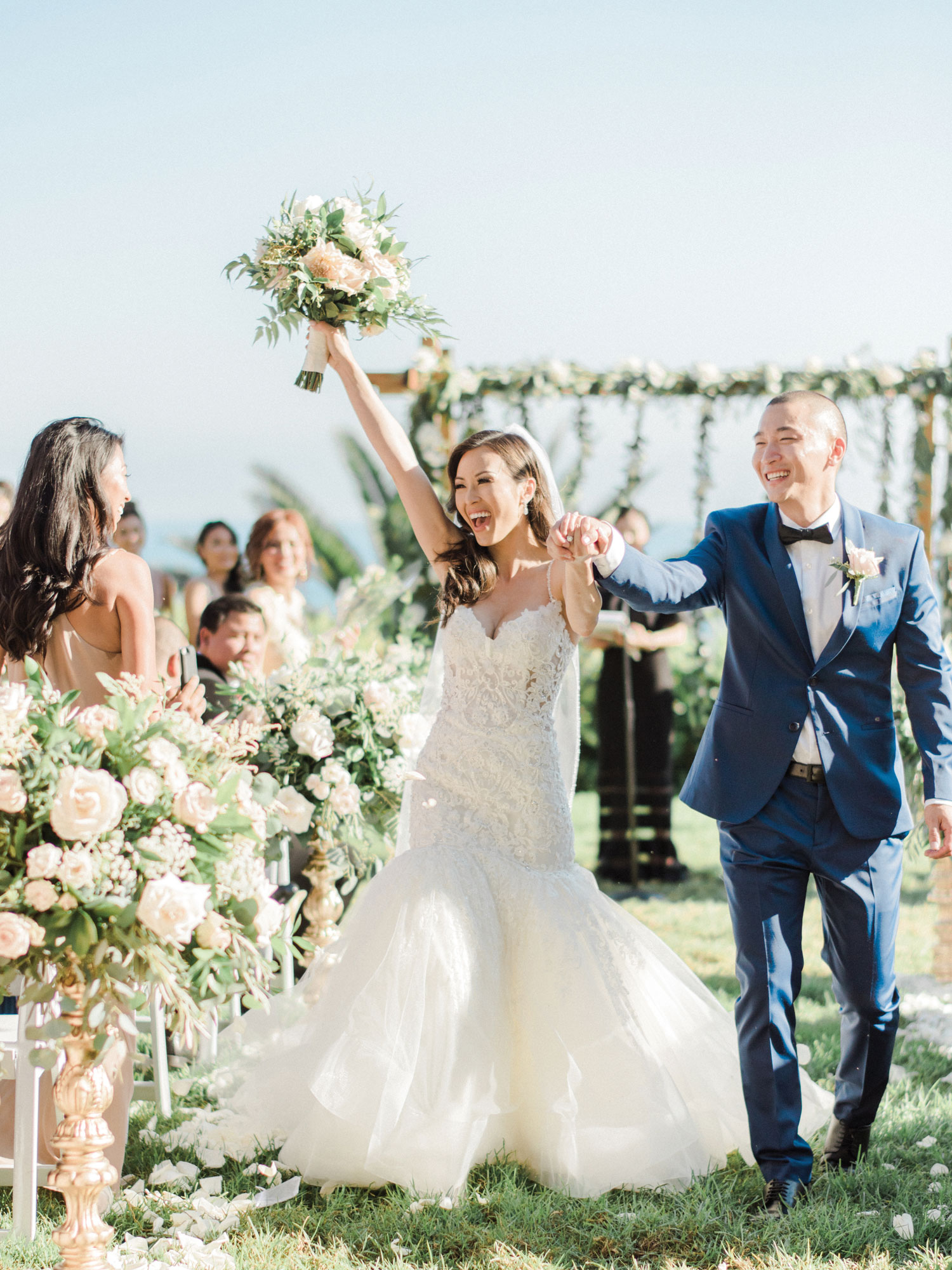 Inside Weddings Summer 2018 issue preview bride and groom at outdoor wedding ceremony