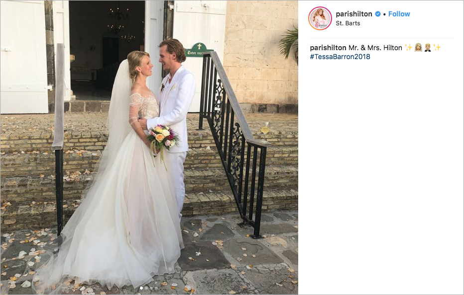 Barron Hilton and Tessa Gräfin von Walderdorff wedding in St. Barts, Watters wedding dress