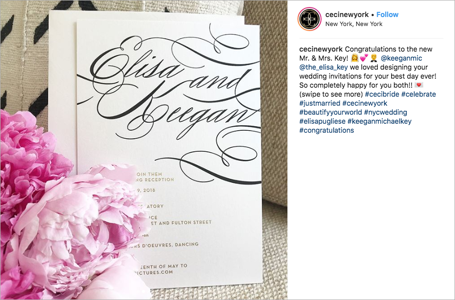 keegan-michael key and elisa pugliese wedding invitations ceci new york celebrity client