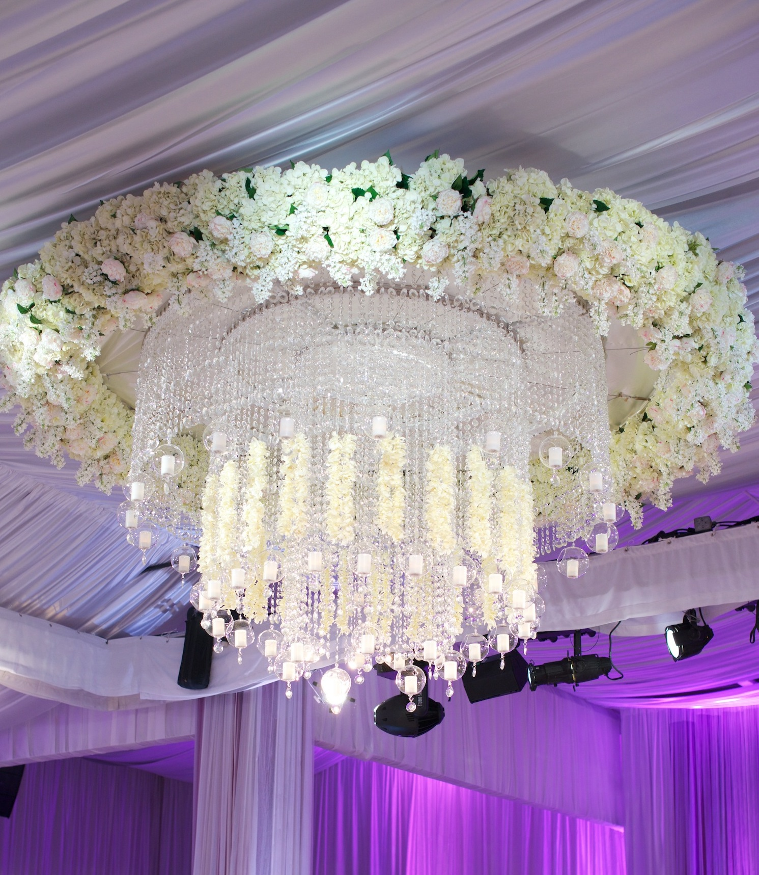 Kandi Burruss Real Housewives wedding ceremony and reception flower chandelier candles