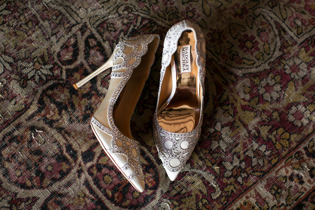Detail shot of badgley mischka shoe heels for wedding day detail shot