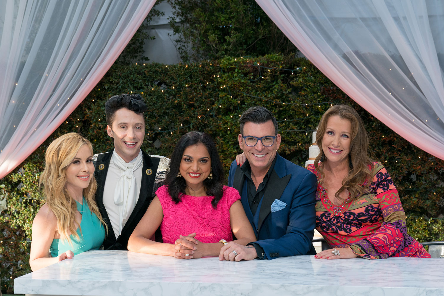 Tara Lipinski, Johnny Weir, Kimberly Bailey of The Butter End Cakery, Chopped judge Maneet Chauhan, and David Tutera