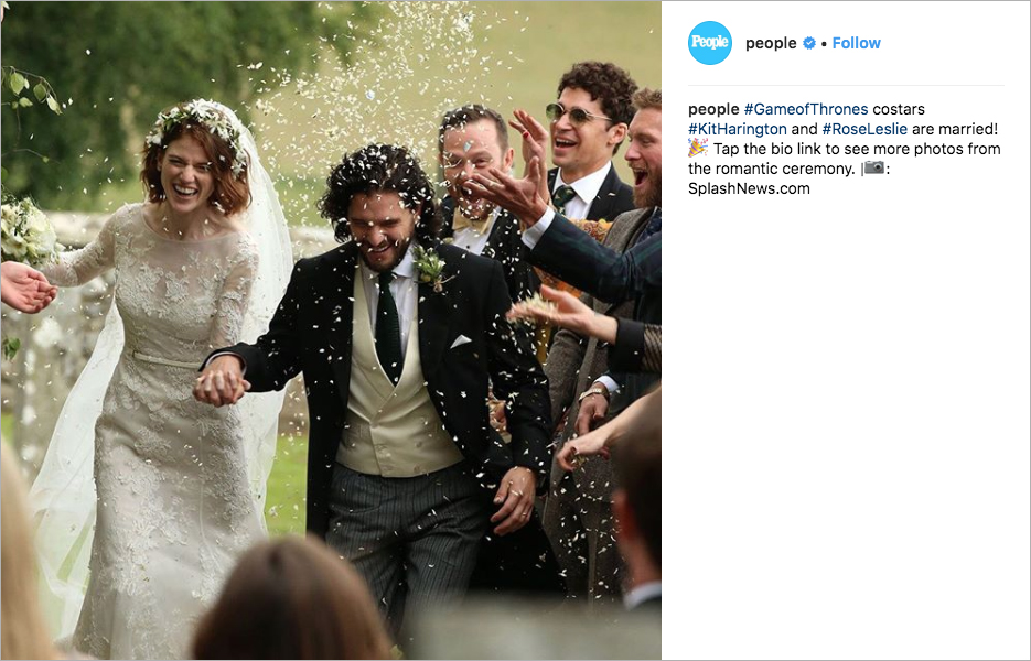 rose leslie and kit harington wedding, game of thrones wedding