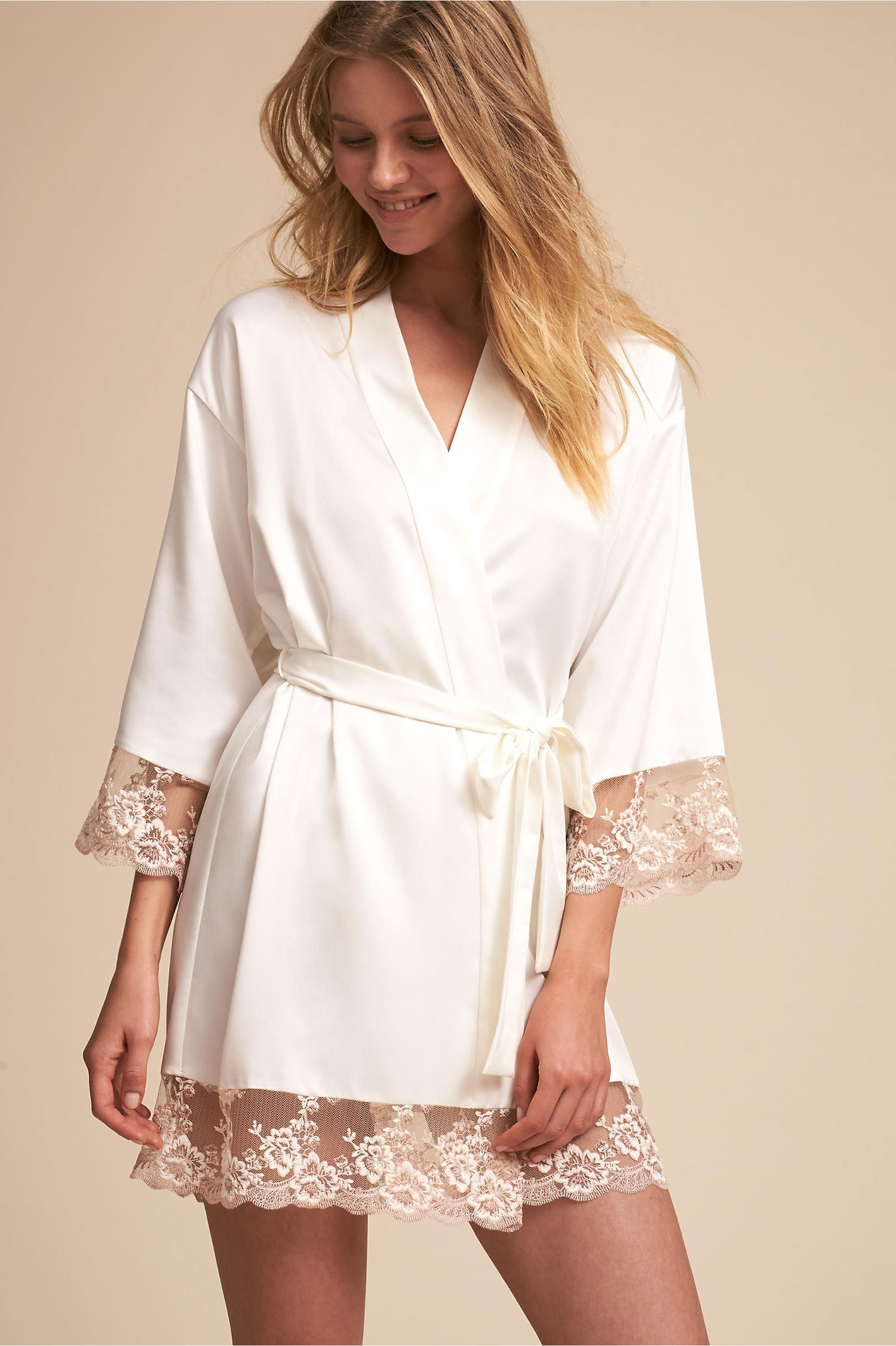 Engagement gift idea engaged friend rosa white silk kimono bhldn