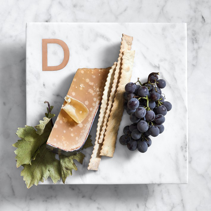 Engagement gift idea engaged friend monogram cheese board marble copper williams sonoma