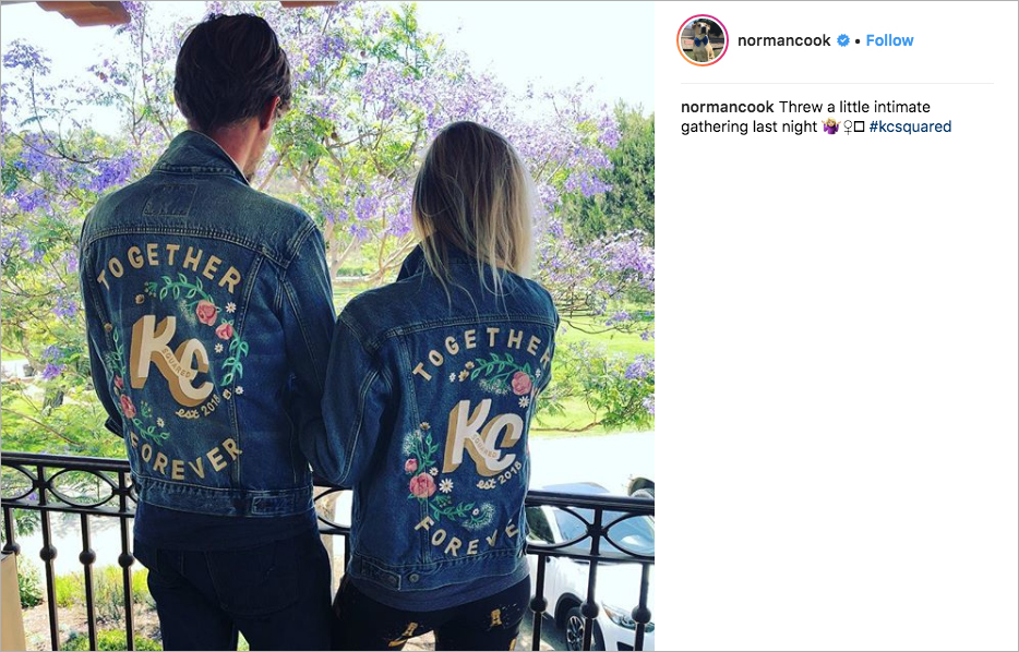 kaley cuoco and karl cook wedding, embroidered jean jackets to celebrate wedding