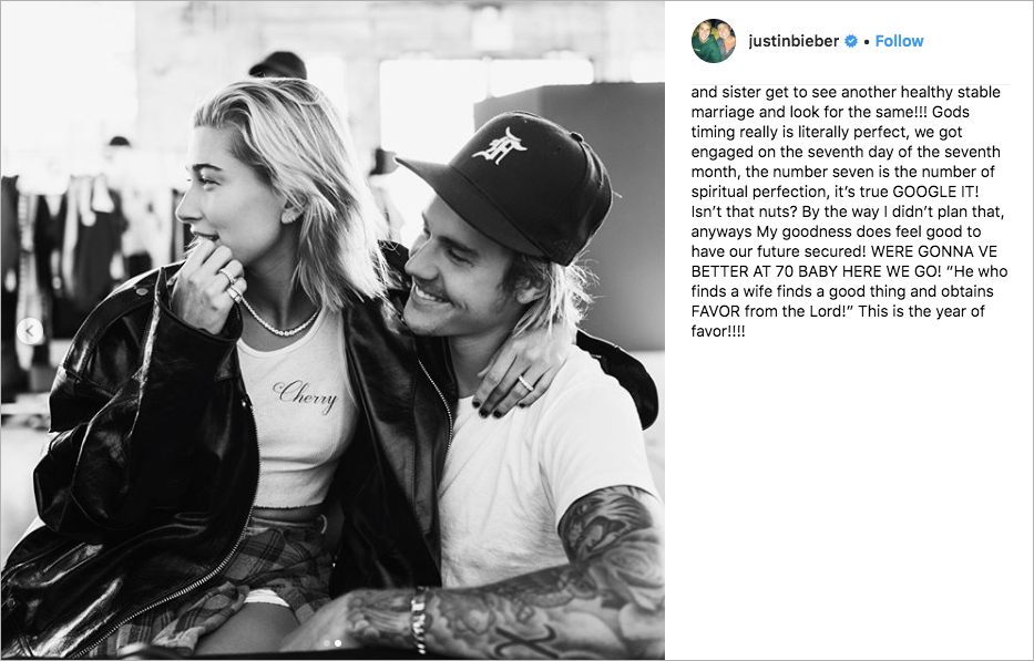 justin bieber confirms engagement to hailey baldwin