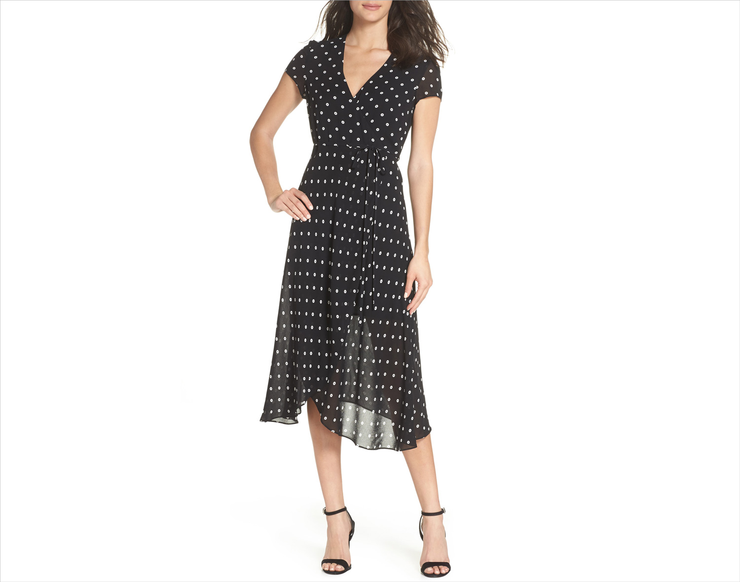 Nordstrom anniversary sale dotted faux rap midi dress by bardot wedding guest dress ideas