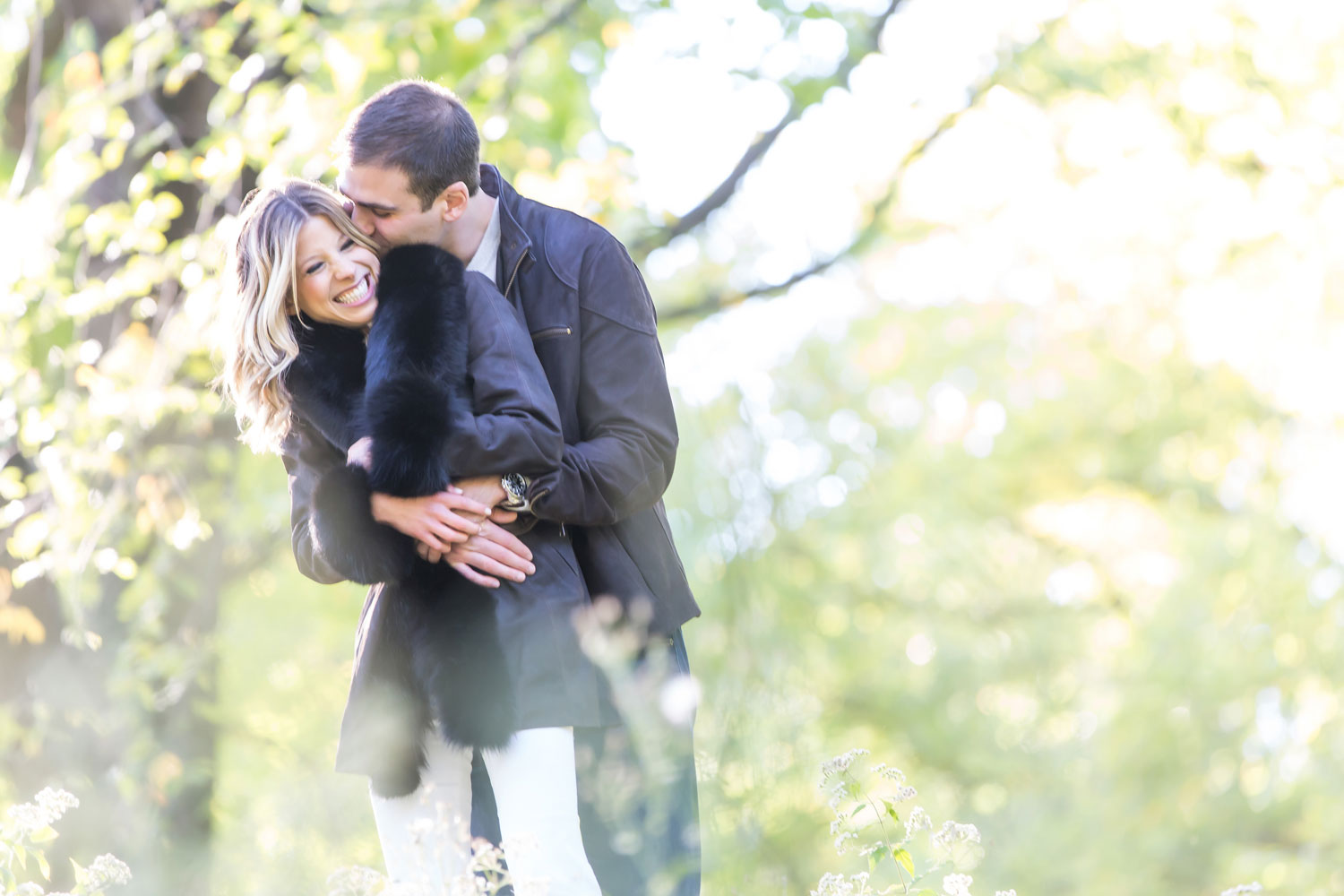 Bride laughing with groom central park new york engagement shoot ideas