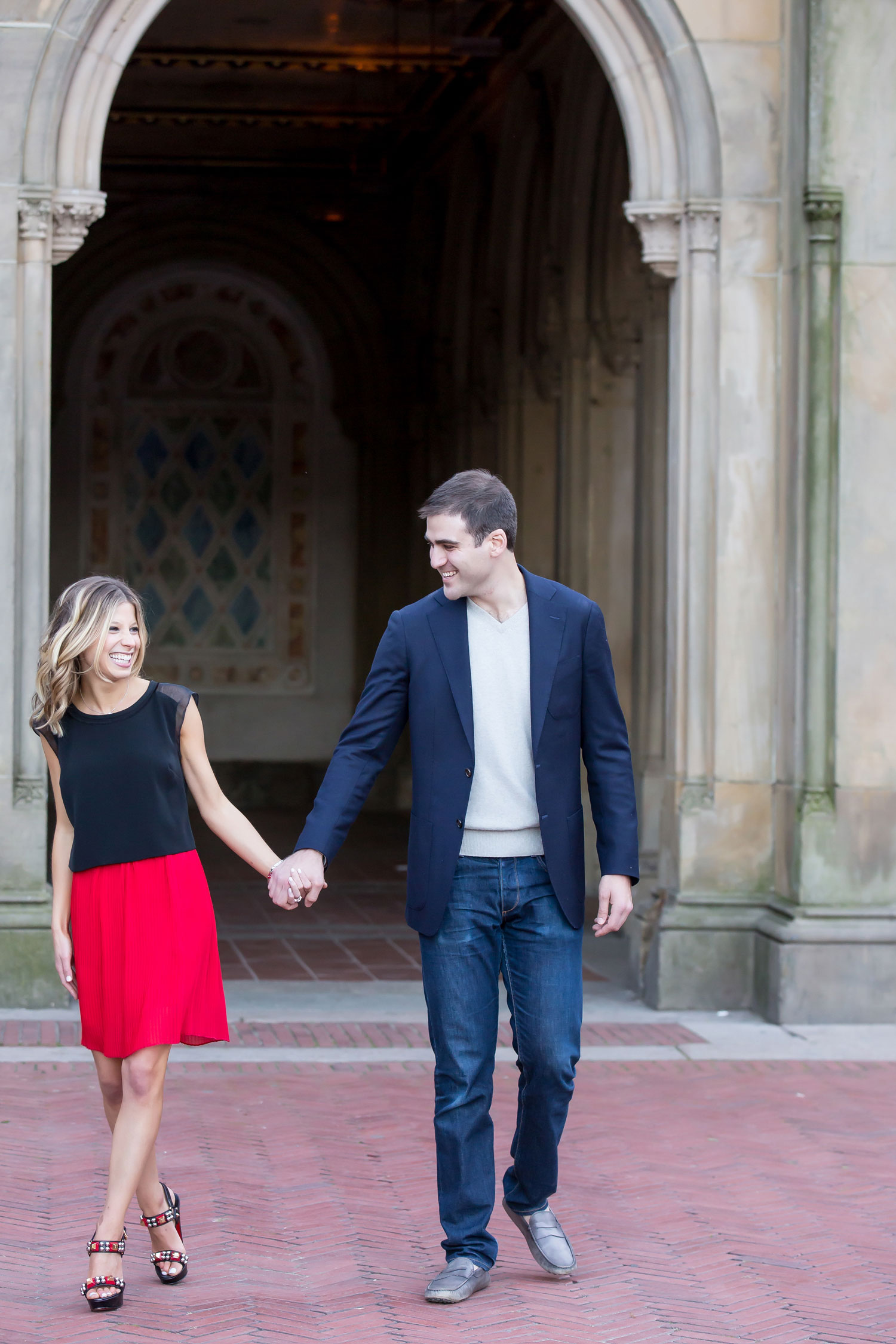 Engagement shoot ideas bride in skirt red and black new york city engagement shoot central park ideas