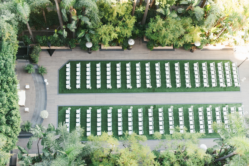 Aerial photo shot of wedding ceremony on green grass weddings by susan dunne